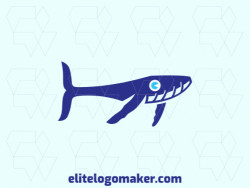 Customizable logo in the shape of a humpback whale composed of a childish style and blue color.