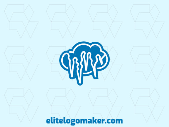 Stylized logo with the shape of a cloud combined with icicles with blue and white colors.
