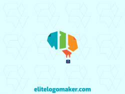 Stylized logo design in the shape of a balloon combined with a brain and papers, the colors used are orange, blue, yellow, and green.