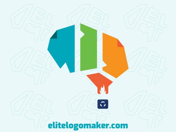 Logotipo criado com estilo abstrato formando um balão mesclado com um cérebro com as cores amarelo, laranja, azul, e verde.