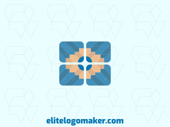 Stylized logo design with the shape of four pencils combined with a flower with beige and blue colors.