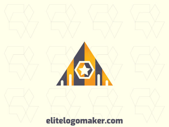 Abstract logo design consists of the combination of a triangle with a shape of a star with black and yellow colors.