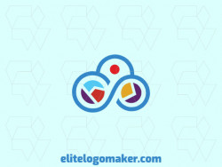 Outline logo in the form of an infinite combined with a map composed of abstract shapes and refined design with orange, yellow, purple, and blue colors.