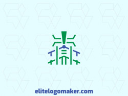Abstract logo with the shape of a house combined with a beetle composed of lines with green and blue colors.