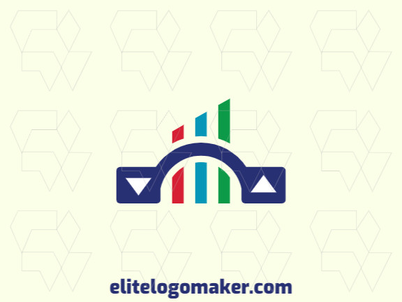 Abstract logo with the shape of a bridge combined with a chart with blue, green and red colors.