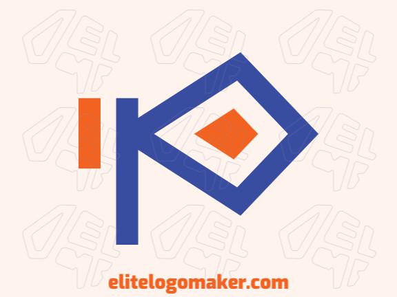 """Logotipo criativo com a forma de uma letra """"I"""" combinado com uma letra """"P"""" com estilo minimalista, as cores utilizado foram azul e laranja."""
