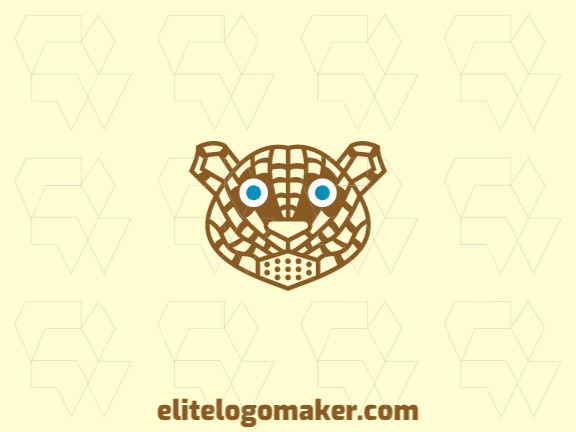 Animal logo design in the shape of a jaguar head composed of abstracts shapes with brown and blue colors.