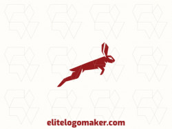 Logo for sale in the shape of a jumping rabbit, with minimalist design and brown color.