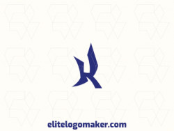 """Abstract logo with a refined design, forming a letter """"K"""", the color used was blue."""