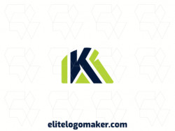 "Ideal logo for different businesses in the shape of a letter ""K"", with a minimalist style."