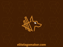 Outline logo in the shape of a kangaroo with brown and orange colors, this logo is ideal for various types of business.