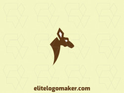 Animal logo design in the shape of a kangaroo head with brown and white colors, this logo is ideal for various types of business.
