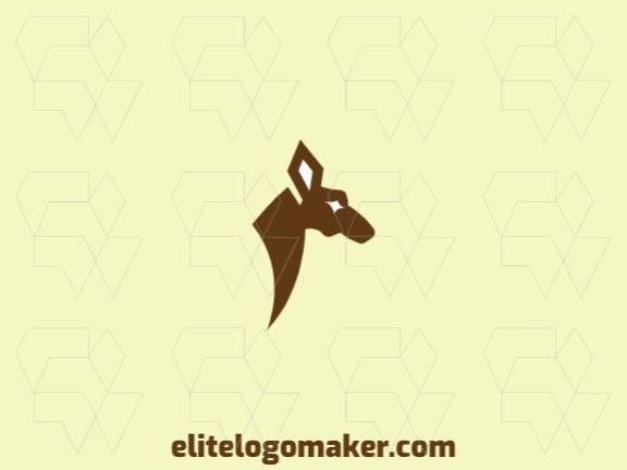 Logotipo elegante composto por formas criativas formando uma cabeça de canguru com estilo minimalista, a cor utilizada foi marrom.