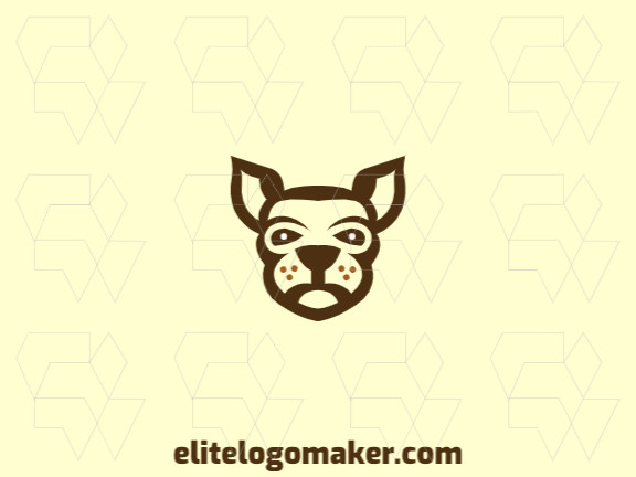 Animal logo with the shape of a kangaroo head with abstract style and brown and yellow colors.