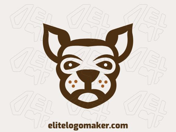 Logotipo simétrico com ideia incrível formando uma cabeça de canguru composto por formas abstratas com as cores branco e marrom.