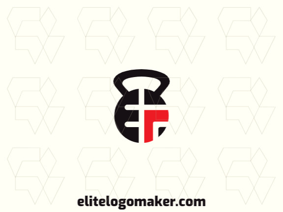 """Vector logo in the shape of a kettlebell combined with a letter """"E"""", with a simple style with red and black colors."""