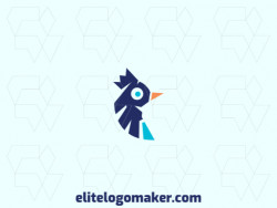 Customizable logo consisting of solid shapes and minimalist style, forming a bird combined with a crown with orange and blue colors.