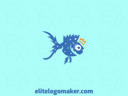 Animal logo design in the shape of a fish using a crown composed of abstracts shapes with blue and yellow colors.
