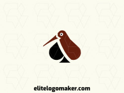 Customizable logo in the shape of a kiwi bird combined with a spade, with creative design and abstract style.