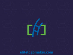 Create your online logo in the shape of a ladder combined with brackets, with customizable colors and minimalist style.