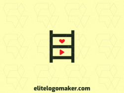 Logo with creative design, forming a ladder combined with a heart and a play, with simple style and customizable colors.