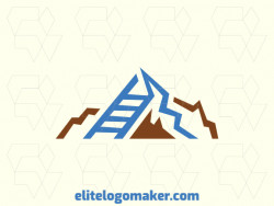Abstract logo in the form of a ladder combined with a mountain composed of abstract shapes and refined design with blue and brown colors.