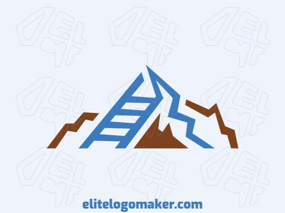 Logotipo customizável com a forma de uma montanha combinado com uma escada composto por um estilo abstrato com cores marrom e azul.