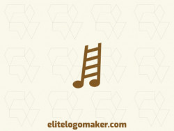 Simple and professional logo design in the shape of a ladder combined with a musical note with simple style, the color used is brown.