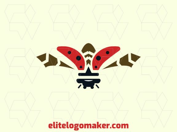 Creative logo design with the shape of a ladybug flying with abstract style and red, brown, and black colors.