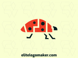 Great logo in the shape of a ladybug created with abstract shapes and orange and black colors, the style used is abstract.