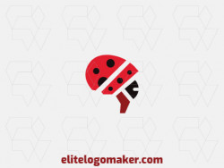 Abstract logo created with geometric shapes forming a ladybug combined with a brain with red, brown, and black colors.
