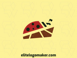 Simple logo in the shape of a ladybug ideal for any brand, the colors used in the logo is black, brown, and red.