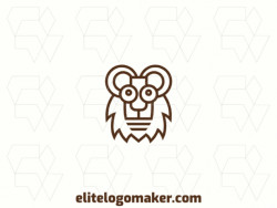 Professional logo in the shape of a lion with a monoline style, the color used was brown.