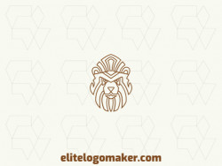 Modern logo in the shape of a lion head with professional design and monoline style.
