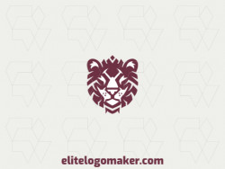 Vector logo in the shape of a lion head with abstract design and brown color.