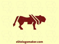 Animal logo in the shape of a lioness composed of solids shapes with dark red color.