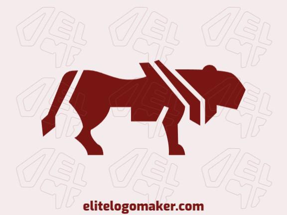 Logotipo criado com estilo abstrato formando uma leoa com a cor marrom.