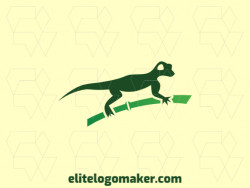 Animal logo design in the shape of a lizard combined with bamboo, the color used is green.