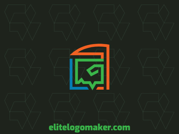 Customizable logo with the shape of a lizard combined with a chat box made up of a simple style and green, blue, and orange colors, that logo is ideal for various businesses.