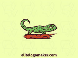 Animal logo design in the shape of a lizard composed of a mosaic with green, brown and orange colors.