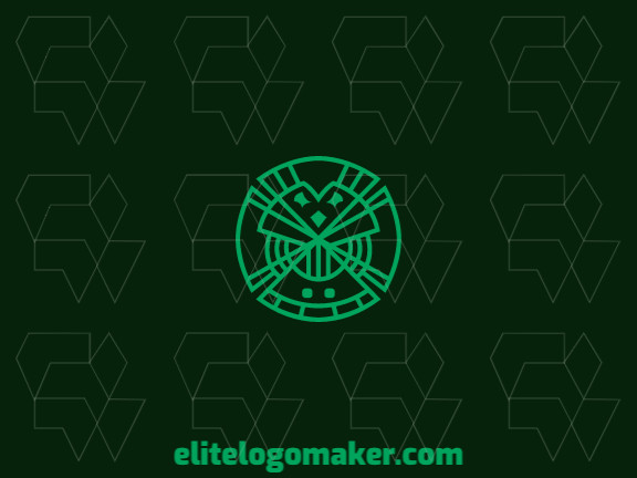 Abstract logo with the shape of an owl combined with a four-leaf clover with black and green colors.
