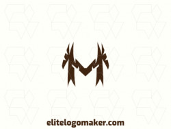 "Exclusive logo in the shape of a letter ""M"" with abstract design and brown color."