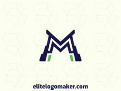 "Logo with creative design, forming a letter ""M"" with initial letter style and customizable colors."