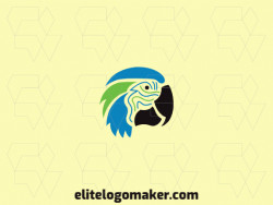 Simple logo with the shape of a macaw head with black, green, and blue colors.