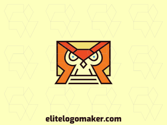 Stylized logo in the shape of an owl combined with an envelope composed of abstract elements with blue, brown, yellow, and orange colors.