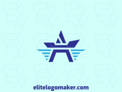 Customizable logo with the shape of a boat combined with a star composed of an abstract style and blue color.