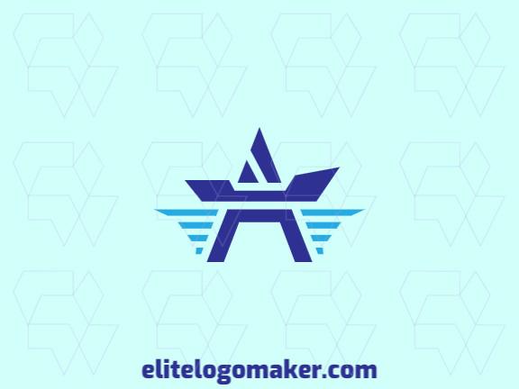 Logotipo moderno grátis com a forma de um barco mesclado com uma estrela com design profissional e estilo minimalista.