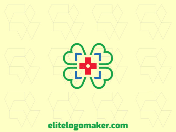 Creative logo in the shape of a four leaf clover merged with a cross with memorable design and simple style, the colors used are: green, blue, red.