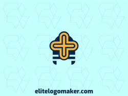 Simple logo composed of abstract shapes forming a medieval helmet with blue and yellow colors.