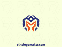"Simple logo with a refined design forming a medieval helmet combined with a letter ""M"", the colors used was blue and orange."